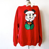 ugly christmas sweater. more like adorable christmas sweater. vintage 80s mickey santa hat oversized sweatshirt