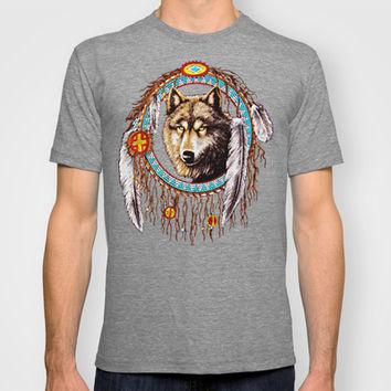 Indian Native Stark Clan Wolf Dream Catcher Adult Tee T-shirt by Three Second