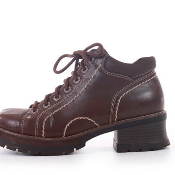 90s Vintage Platform Boots Brown Vegan Leather Chunky Lace Up Hipster Grunge Shoes Women Size US 8.5 UK 6.5 EUR 39