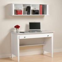 Contemporary Desk and Hutch White