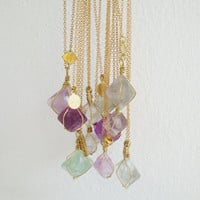 Mystery Fluorite - Wire wrapped geometric octagonal Fluorite stone and vintage brass charm simple everyday necklace
