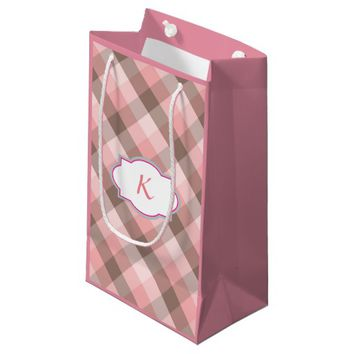 Monogram. Pink Plaid. Small Gift Bag