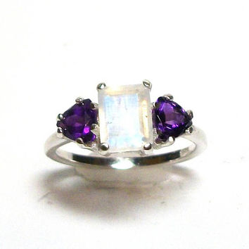 "Moonstone, moonstone accent ring, moonstone ring, blue pink purple,  multi stone ring , engagement ring, s 7 ""Matrimony Glow"""