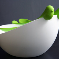 Bird Salad Bowl and Servers Set - green and white