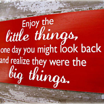 Enjoy The Little Things- The Little Things Are The Big Things- Typography Sign-LARGE Oversized Wall Decor- Wooden Distressed Sign