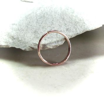 Daith Hoop Earring Pink Gold Face Hammered Single