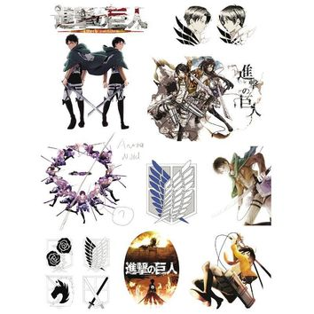 Cool Attack on Titan 1Set Classic Anime  Waterproof Temporary Tatto Sticker for Any Part of the Body Brand Decal Stickers AT_90_11