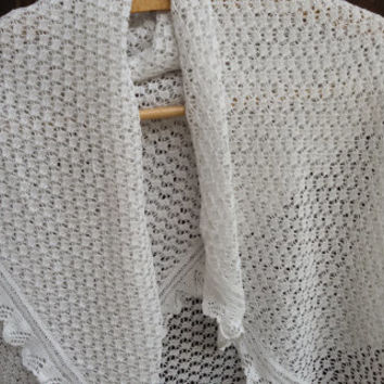 Cotton Hand Crocheted Shawl - Antique French 1930's White Shawl - Handmade Lace Shawl - Ruffled Lace Wedding Shawl - Natural Handmade Shawl