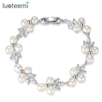LUOTEEMI Natural Pearl Bracelets for Women Silver Color Link Chain CZ Crystal Flower Bridal Wedding Jewelry Bracelets & Bangles