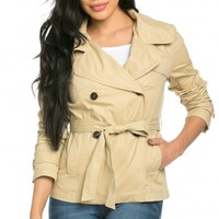 Double Breasted Short Trench Coat in Beige