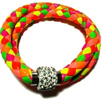 Multi colored Leather double braided bracelet