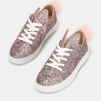Glitter Lace-Up Sneakers With Pom | Wet Seal