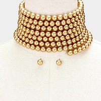 """106"""" faux pearl wrap adjustable collar choker necklace statement earrings"""