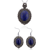 On Sale Edwardian Hematite & Lapis Lazuli Gemstone Earrings and Pendant With 20 inch Stainless Steel Chain