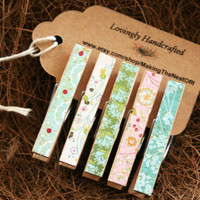 Wood Clothespin Desk Organizing set of 5