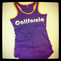 Ladies' Laker's Fan Vintage California Purple and Gold Racerback Tank Top Valentine's Day Gift For Her