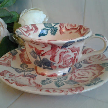 Emma Bridgewater Rose Chintz Teacup and Saucer Vintage China Retired Pattern Rare Pink Roses