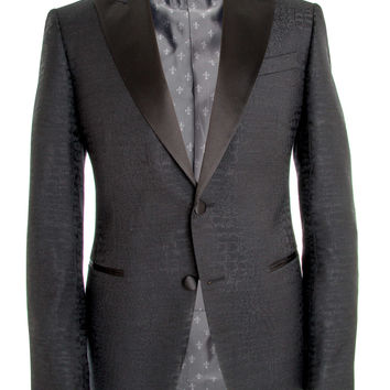 John Varvatos Black Crocodile Embossed Tuxedo Jacket