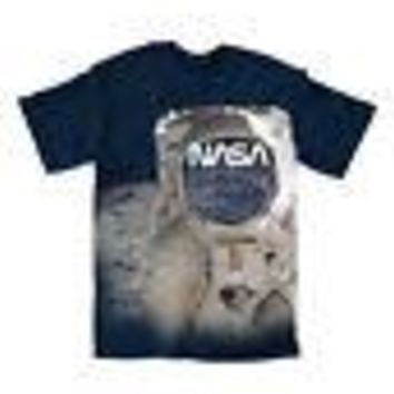 NASA Logo Face Mask Astronaut Helmet Moon Licensed Adult Unisex T-Shirt - Blue