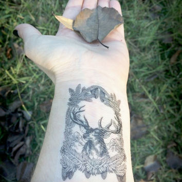 Deer Temporary Tattoo - Deer With Foliage Tattoo - Animal Tattoo - Deer Illustration