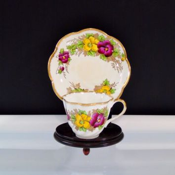 Salisbury Fine Bone China England Pansy Pattern 1878 Tea Cup and Saucer