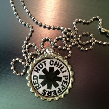 Red Hot Chili Peppers band logo bottlecap necklace