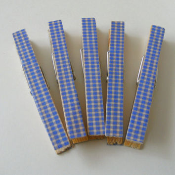 Decorative Clothespins Wood Blue Gingham Full Size Set of 5 Memorial Day Picnic