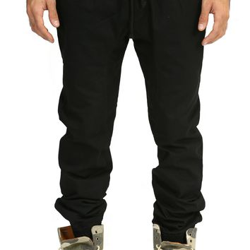 Drop Crotch Simple Jogger in Black