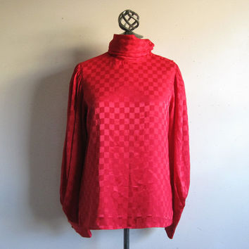 Vintage 1980s Regina Porter Top Red Checker Board Jacquard High Neck Designer Blouse 8