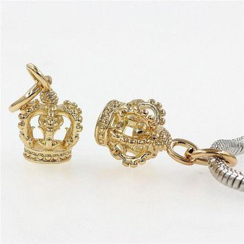 ac spbest Crown Charm Pendant DIY Beads Fit Pandora Charms bracelets Fashion Jewelry DIY Making