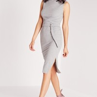 Missguided - Sleeveless High Neck Wrap Belt Bodycon Dress Grey