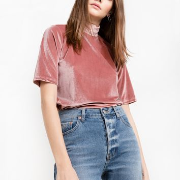 Dusty Pink Velvet Mock Neck Top