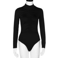 Fold Sexy One Piece Outfits Long Sleeve Slim Women Sexy Rompers Spring One Piece Jumpsuit#212