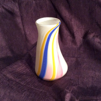 Hand Blown Glass Vase, White with Swirled Stripes.  OOAK Glass Art.