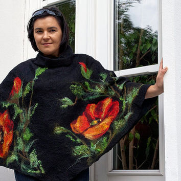Women Poncho Black wool Cape, Felted poncho, Natural  wool Poppy flower  outerwear oversized poncho,   plus sizes, poncho for women