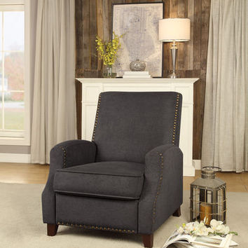 Walden collection gray fabric upholstered push back recliner chair with nail head trim