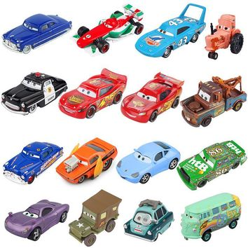 Disney Pixar Cars 2 3 Lightning McQueen Mater Huston Jackson Storm Ramirez 1:55 Diecast Metal Alloy Boys Kids Toys Model Figures