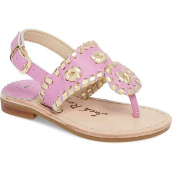 Jack Rogers Little Miss Hollis Metallic Trim Sandal (Walker & Toddler) | Nordstrom