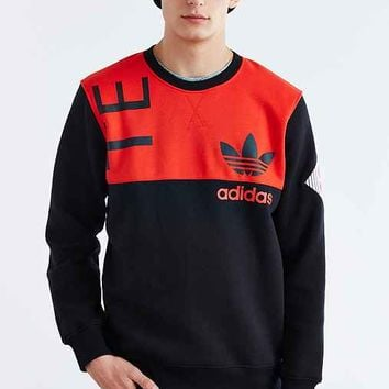 adidas Originals Team Art Fleece Crew Neck Sweatshirt- Black