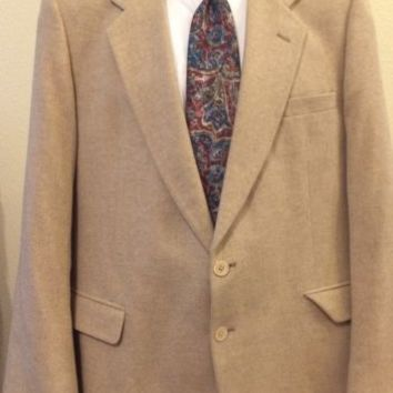 Men's Alan Lebow Jacket Blazer Sportcoat Suit Beige Cream 100% Cashmere Size 43R
