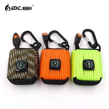 EDC.1991 Paracord Outdoor Camping Survival Grenade Paracord Keychain 20 in 1 Compass, Emergency Whistle, Carabiner, Fishing Kits
