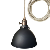 "Factory 7 1/16"" Metal Shade Brass Pendant Light- Light Sweater Cord"