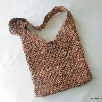 Crochet shoulder bag, eco vegan friendly  brown plarn purse magnetic  snap flower