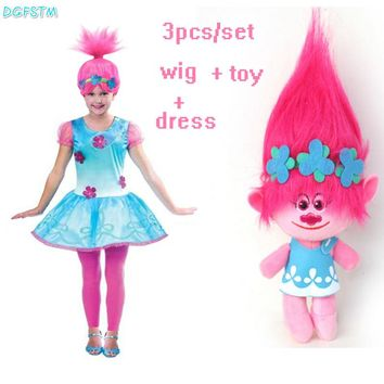 2017 New Cartoon Trolls Dress and wig and toy Summer Children Girls Sleeveless A-Line Dress Girls Princess Dresses Vestido