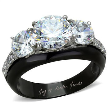 A Perfect 5.89TCW Three Stone Journey Russian Lab Diamond Promise Engagement Anniversary Wedding Ring