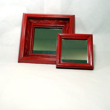 Boho Chic Mirrors Small Red Accent Framed Wall Mirrors Cottage Chic Bohemian Chic Wall Decor