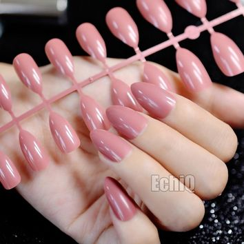 24pcs Reddish-brown Oval Sharp end Stiletto False Nails Russet Brown Coffee Fake Nails Tips Manicure Artificial Nails Salon