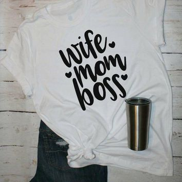 wife mom boss Women Fashion clothing graphic Tees Funny T-shirt tumblr shirts letter print hipster t shirts Summer tops tshirts