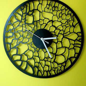 Black Laser cut WALL CLOCK  Modern  Laser Cut  Wood  Wall  Art  Decor  Clock  Modern