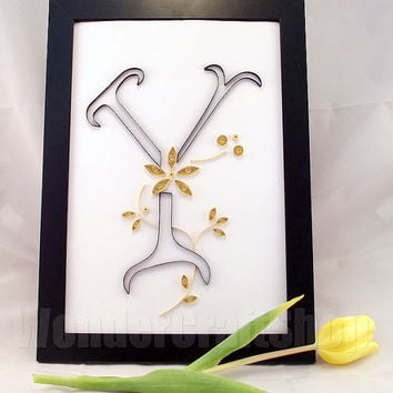 Beautiful personalised Quilled Y Letter with either silver or golden flowers in a black Ikea Nyttja Photo Frame